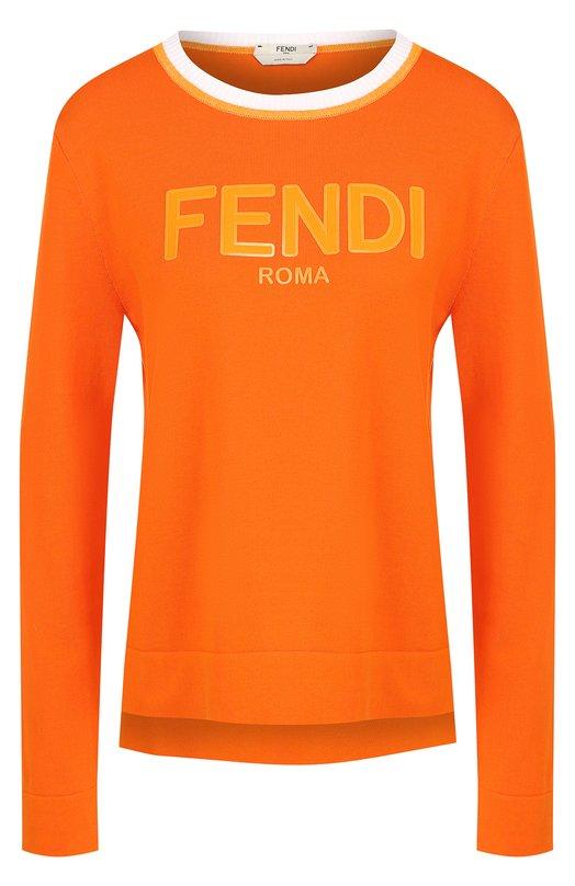 Купить Хлопковый пуловер с круглым вырезом Fendi, FAE130 A1IT, Италия, Оранжевый, Хлопок: 100%;