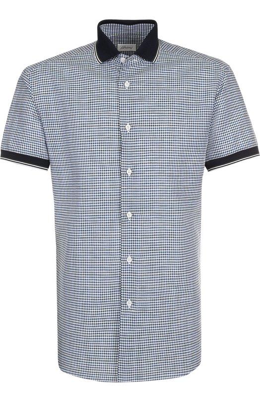 Купить Рубашка из смеси льна и хлопка Brioni, SC320V/P7128, Италия, Зеленый, Лен: 67%; Хлопок: 33%;