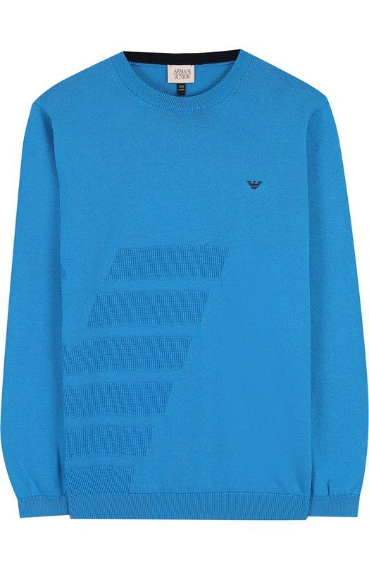 Купить Хлопковый пуловер с фактурной отделкой и круглым вырезом Armani Junior, 3Z4M53/4M09Z/11A-16A, Тунис, Бирюзовый, Хлопок: 100%;