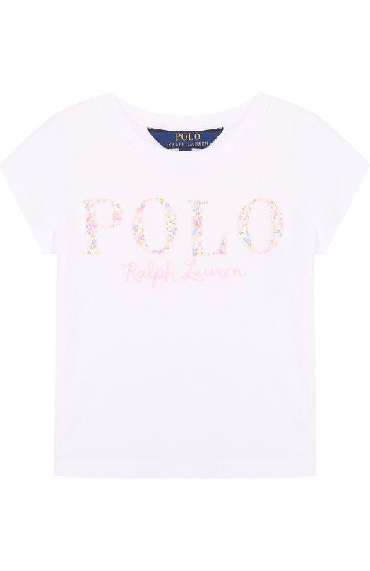 Купить Хлопковая футболка с логотипом бренда Polo Ralph Lauren, 311688679, Китай, Белый, Хлопок: 100%;