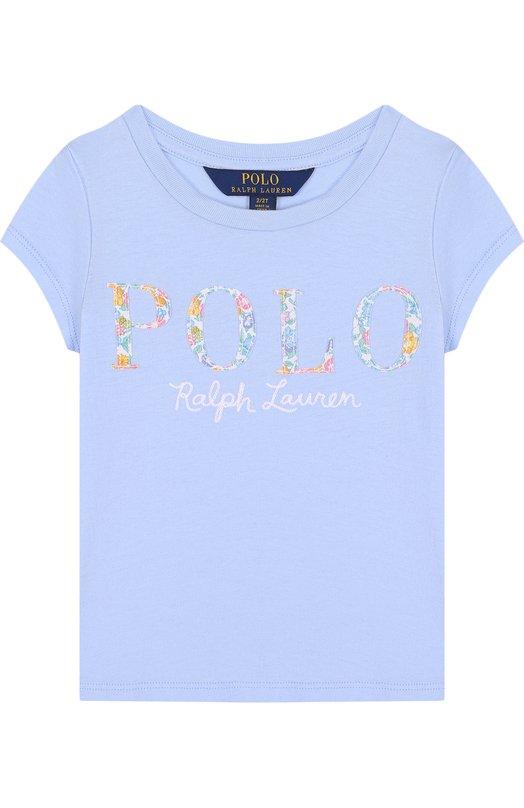 Купить Хлопковая футболка с логотипом бренда Polo Ralph Lauren, 311688679, Китай, Голубой, Хлопок: 100%;