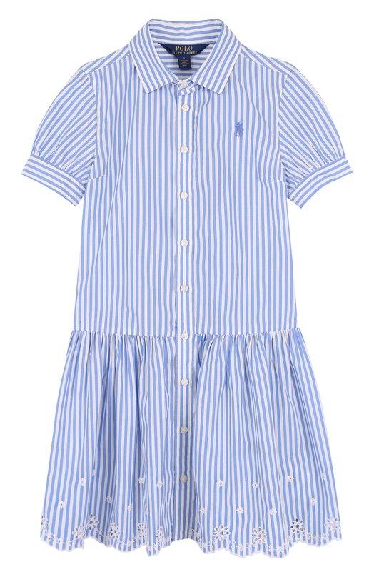 Купить Хлопковое платье с вышивкой и фестонами Polo Ralph Lauren, 313688409, Индия, Голубой, Хлопок: 100%;