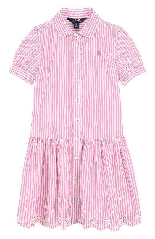 Купить Хлопковое платье с вышивкой и фестонами Polo Ralph Lauren, 313688409, Индия, Розовый, Хлопок: 100%;