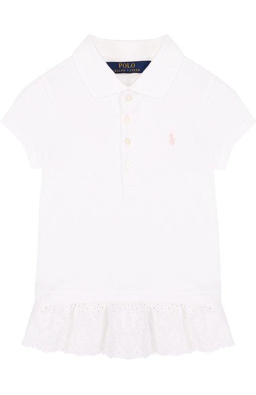 Купить Хлопковое поло с кружевной баской Polo Ralph Lauren, 311688680, Китай, Белый, Хлопок: 98%; Эластан: 2%;