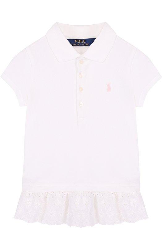 Купить Хлопковое поло с кружевной баской Polo Ralph Lauren, 312688680, Китай, Белый, Хлопок: 98%; Эластан: 2%;