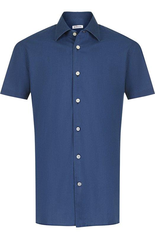 Купить Хлопковая рубашка с короткими рукавами Kiton, UMCNERH0622102000, Италия, Синий, Хлопок: 100%;