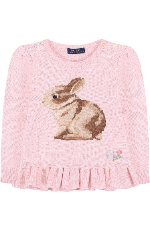 Купить Пуловер из смеси хлопка и шерсти с принтом и баской Polo Ralph Lauren, 312690008, Китай, Розовый, Хлопок: 100%; Отделка-шерсть: 100%;