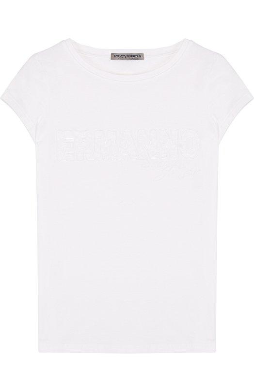 Купить Хлопковая футболка с логотипом бренда Ermanno Scervino, 42 I TS11/4-8, Италия, Белый, Хлопок: 93%; Эластан: 7%;