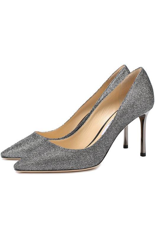 Купить Туфли Romy 85 из металлизированного текстиля Jimmy Choo, R0MY 85/LAG, Италия, Серебряный, Низ-кожа: 100%; Подкладка-кожа: 100%; Подошва-кожа: 100%; Стелька-кожа: 100%; Текстиль: 100%;