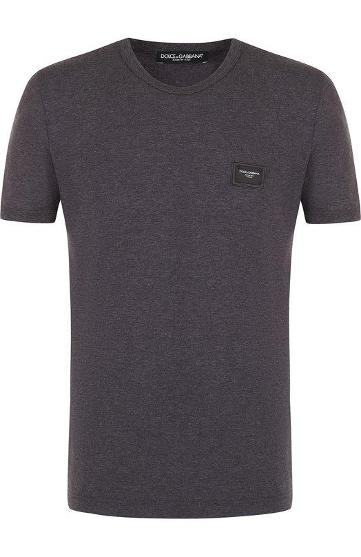 Купить Хлопковая футболка с круглым вырезом Dolce & Gabbana, G8HV0T/FU7EQ, Италия, Серый, Хлопок: 100%;
