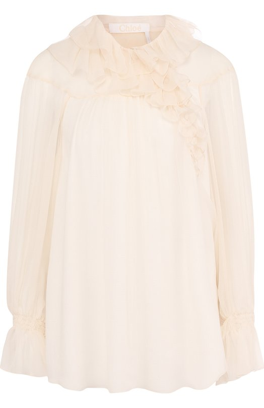 Купить Шелковая блуза свободного кроя с оборками Chloé, CHC18SHT79001114, Франция, Кремовый, Шелк: 100%; Подкладка-полиэстер: 100%;