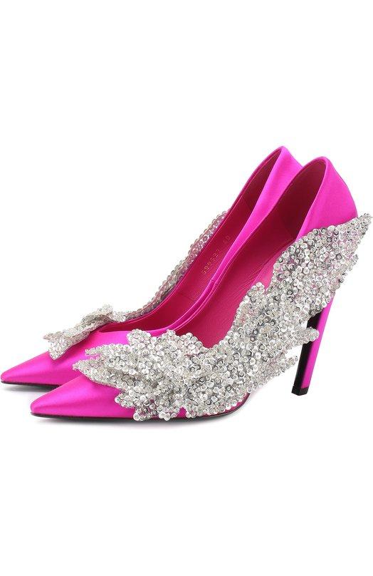 Атласные туфли Slash с аппликацией на шпильке Balenciaga Balenciaga