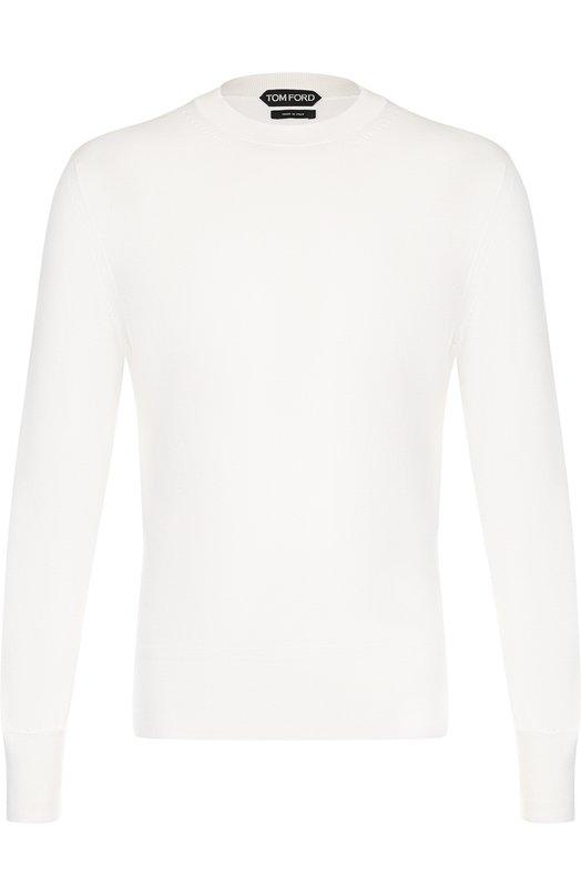Купить Однотонный хлопковый джемпер Tom Ford, BPC00/TFK110, Италия, Белый, Хлопок: 100%;