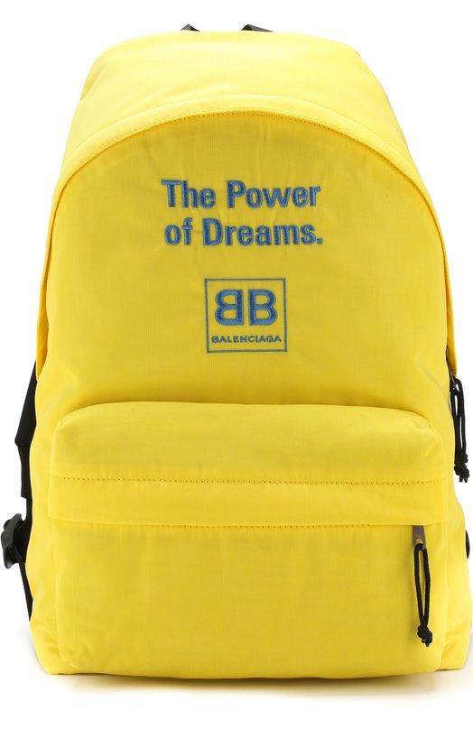 Купить Текстильный рюкзак с принтом Balenciaga, 503221/9D0P5, Италия, Желтый, Полиамид: 100%;