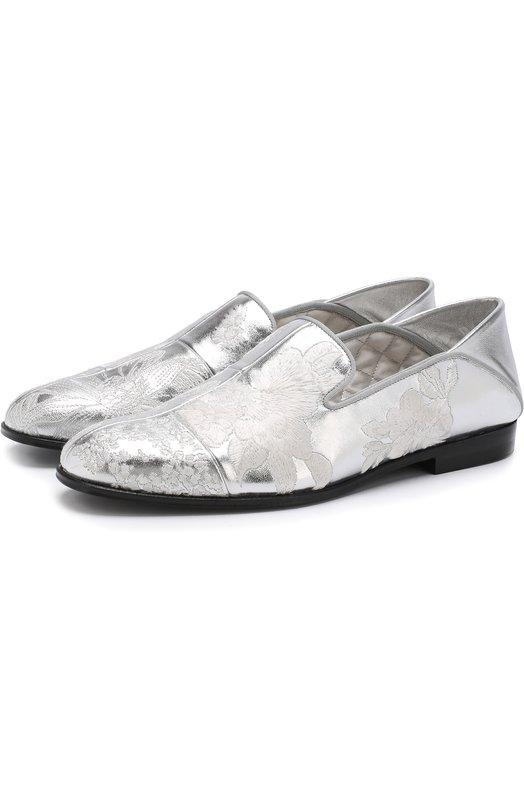 Слиперы из металлизированной кожи с вышивкой Alexander McQueen