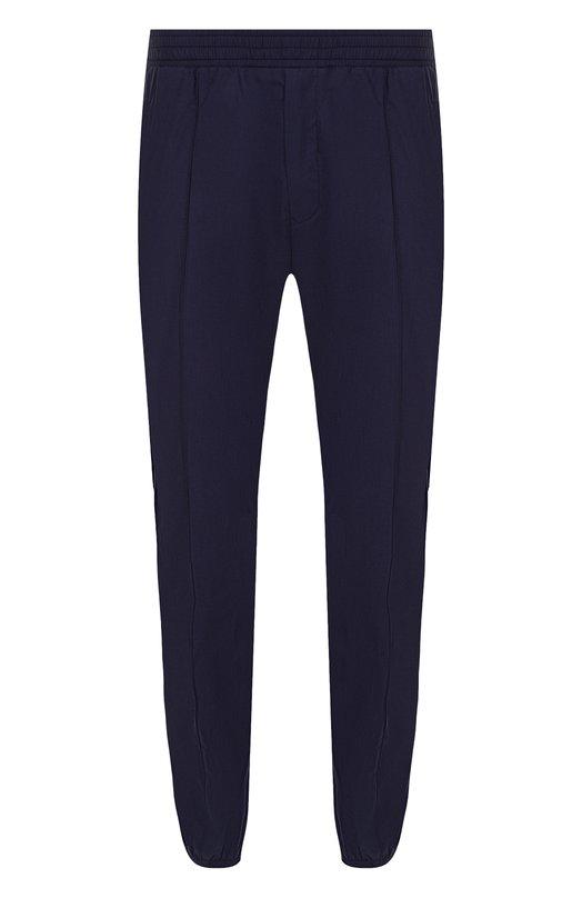Купить Хлопковые брюки прямого кроя с поясом на резинке Versace, A76997/A224550, Италия, Темно-синий, Хлопок: 100%;