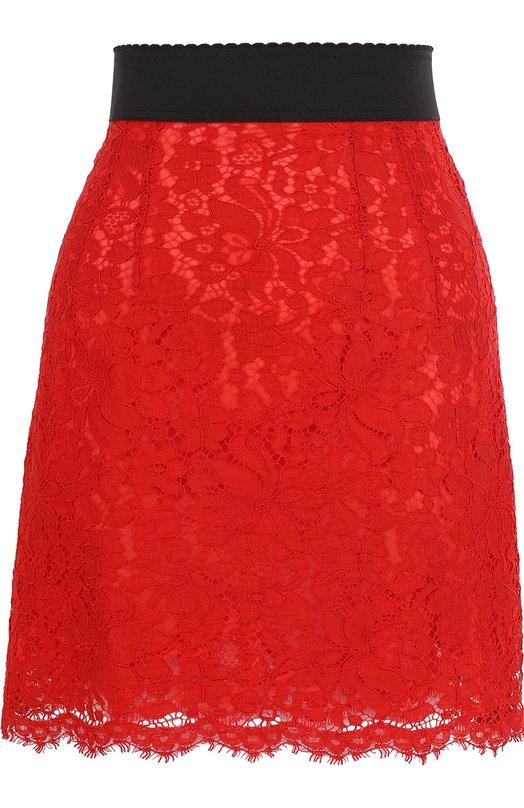 Купить Кружевная мини-юбка с контрастным поясом Dolce & Gabbana, F4A7QT/HLMQQ, Италия, Красный, Подкладка-шелк: 86%; Подкладка-хлопок: 8%; Хлопок: 41%; Подкладка-эластан: 4%; Вискоза: 39%; Полиамид: 20%; Подкладка-полиамид: 2%;