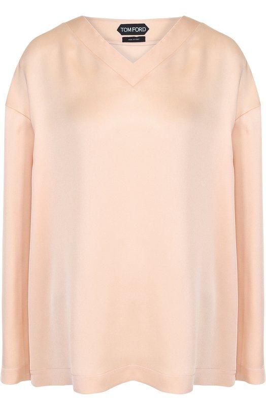 Купить Шелковая блуза свободного кроя с V-образным вырезом Tom Ford, TS1770-FAX069, Италия, Бежевый, Шелк: 100%;