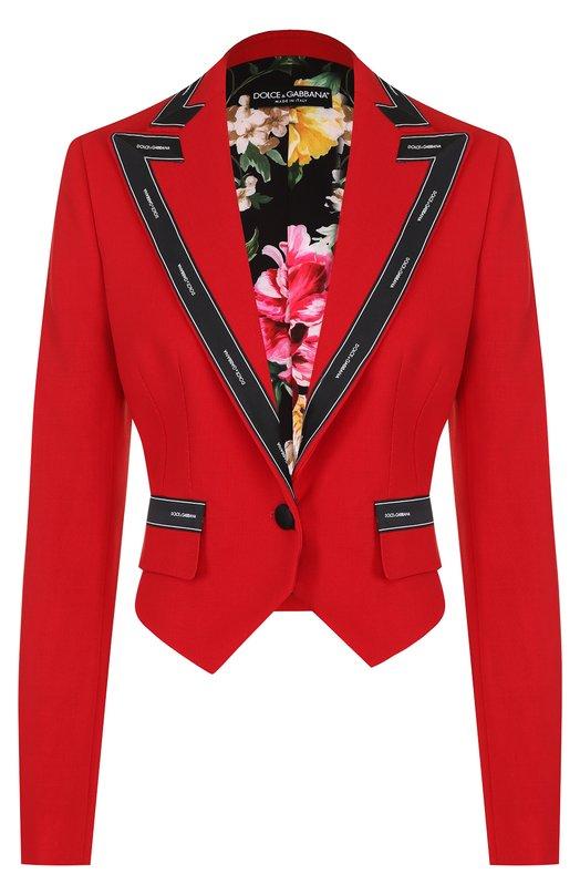 Купить Укороченный шерстяной жакет Dolce & Gabbana, F293IT/FU2RM, Италия, Красный, Подкладка-полиэстер: 96%; Подкладка-эластан: 4%; Шерсть: 100%;