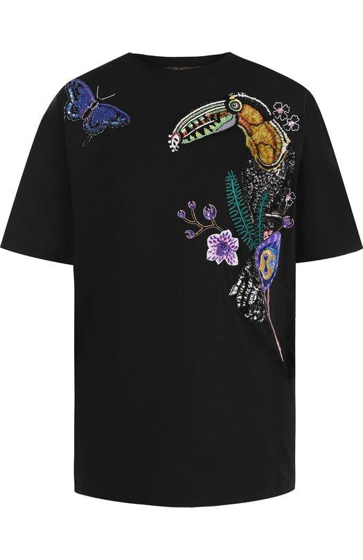 Купить Хлопковая футболка с контрастной отделкой Roberto Cavalli, GQR681/JD055, Италия, Черный, Хлопок: 100%;