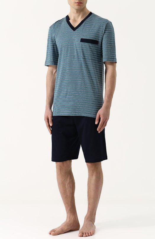 Купить Хлопковая пижама с шортами и футболкой в полоску Zimmerli, 3172-95412, Болгария, Зеленый, Хлопок: 100%;