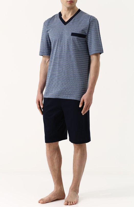 Хлопковая пижама с шортами и футболкой в полоску Zimmerli