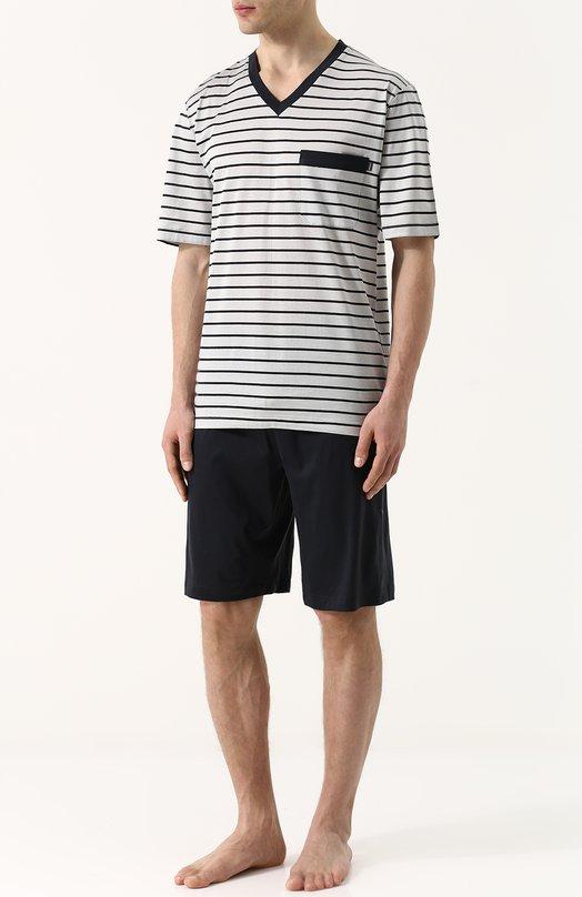 Купить Хлопковая пижама с шортами и футболкой в полоску Zimmerli, 3178-95412, Болгария, Серый, Хлопок: 100%;