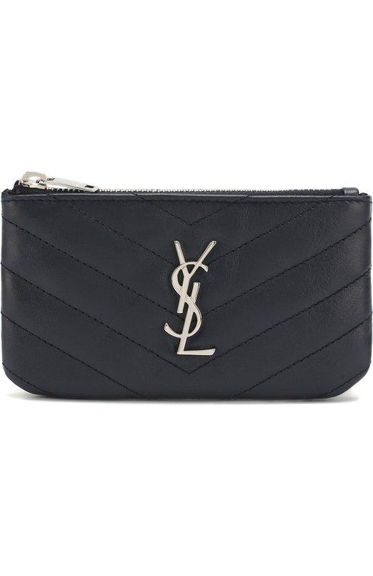Купить Кожаный футляр для ключей с логотипом бренда Saint Laurent, 438386/CWU02, Италия, Темно-синий, Кожа натуральная: 100%;