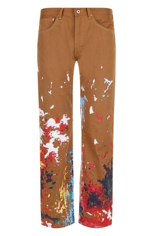 Купить Хлопковые брюки прямого кроя с принтом Junya Watanabe x Levi's Junya Watanabe, WA-P204-051, Япония, Коричневый, Хлопок: 100%;