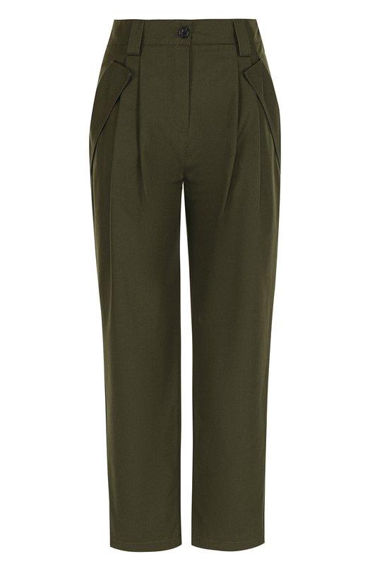 Однотонные хлопковые брюки с защипами  Valentino