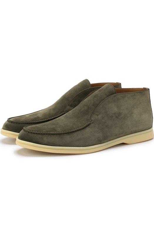 Купить Замшевые ботинки Open Walk без шнуровки Loro Piana, FAB4368, Италия, Оливковый, Стелька-Кожа: 100%; Подошва-Резина: 100%; Замша натуральная: 100%; Подкладка-Кожа: 100%; Кожа: 100%; Низ-Кожа: 100%;