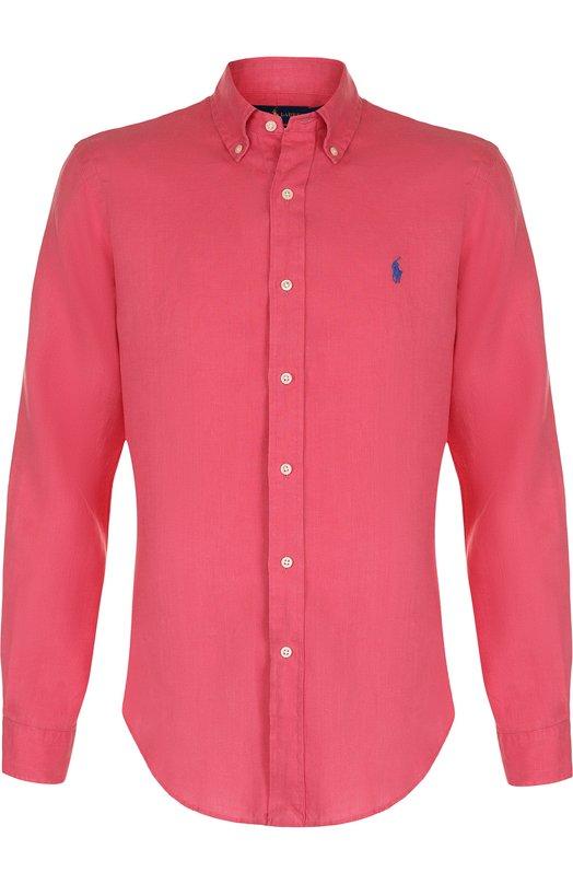 Купить Льняная рубашка с воротником button down Polo Ralph Lauren, 710688595, Индия, Красный, Лен: 100%;
