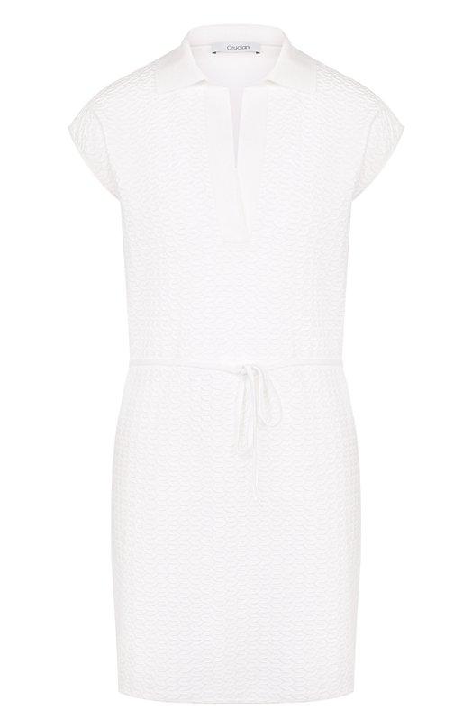 Купить Приталенное хлопковое мини-платье Cruciani, CD21.252, Италия, Белый, Хлопок: 80%; Эластан: 20%;