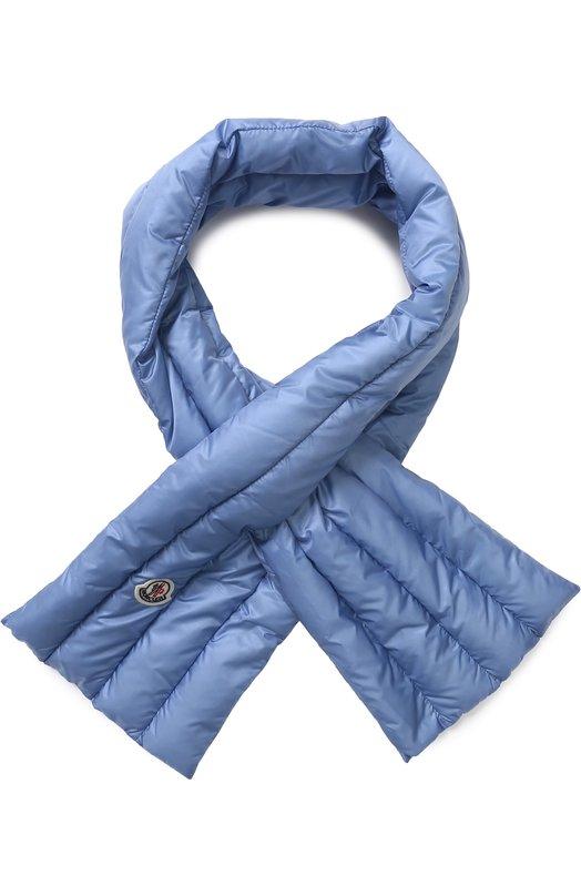 Купить Пуховый стеганый шарф с логотипом бренда Moncler, D1-093-00181-00-53048, Венгрия, Голубой, Пух: 90%; Полиамид: 100%; Перо: 10%;