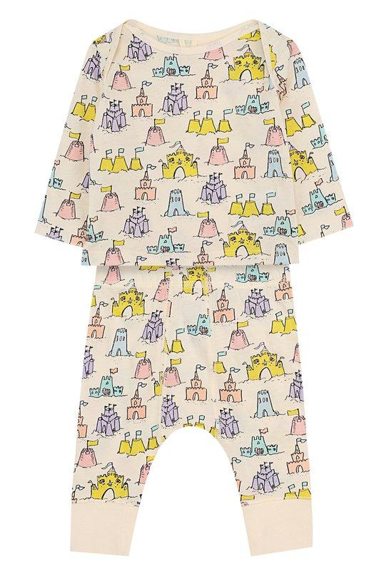 Купить Хлопковая пижама с принтом Stella McCartney, 496728/SKJ60, Китай, Бежевый, Хлопок: 100%;