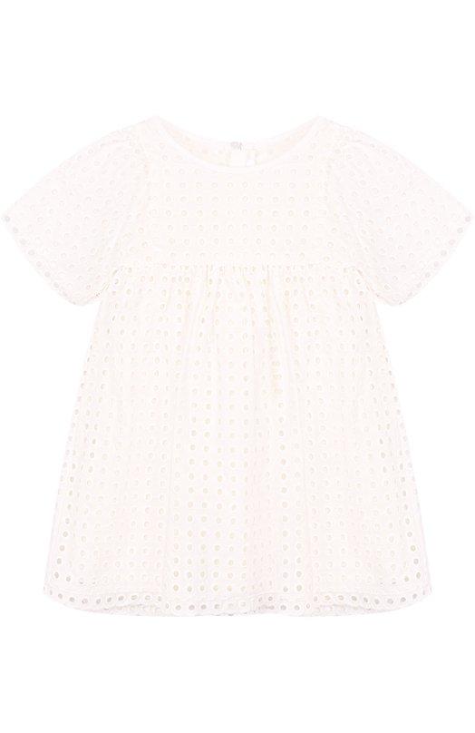 Купить Хлопковое мини-платье с перфорацией Chloé, C12677/2A-5A, Индия, Белый, Хлопок: 100%; Подкладка-хлопок: 100%;