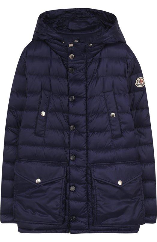 Купить Пуховая куртка с капюшоном и карманами Moncler Enfant, D1-954-42339-99-53334/12-14A, Армения, Синий, Пух: 90%; Полиамид: 100%; Подкладка-полиамид: 100%; Перо: 10%;