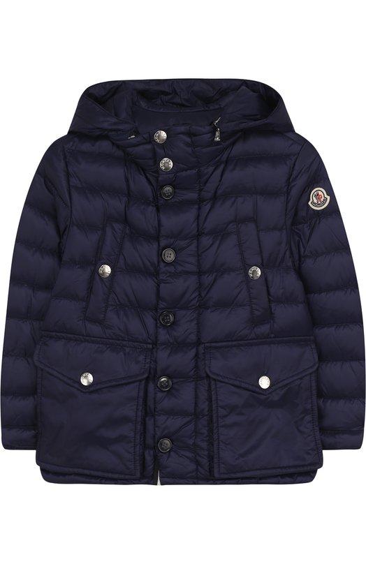 Купить Пуховая куртка с капюшоном и карманами Moncler Enfant, D1-954-42339-99-53334/4-6A, Армения, Синий, Пух: 90%; Полиамид: 100%; Подкладка-полиамид: 100%; Перо: 10%;