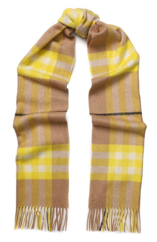 Купить Кашемировый шарф в клетку с бахромой Burberry, 4065324, Великобритания, Желтый, Кашемир: 100%;