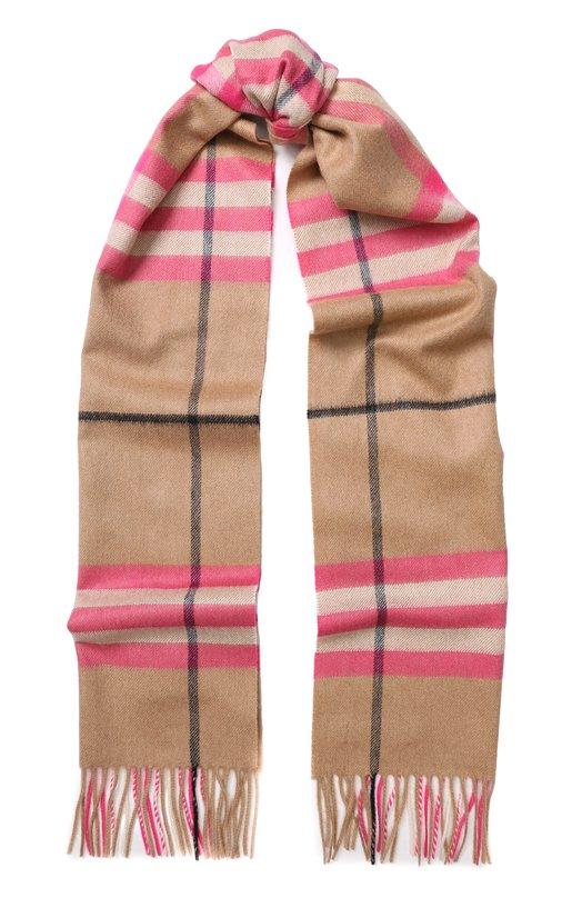 Купить Кашемировый шарф в клетку с бахромой Burberry, 4065327, Великобритания, Розовый, Кашемир: 100%;