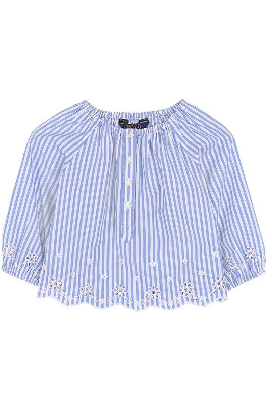 Хлопковая блуза свободного кроя с вышивкой и фестонами Polo Ralph Lauren, 311688391, Индия, Голубой, Хлопок: 100%;  - купить