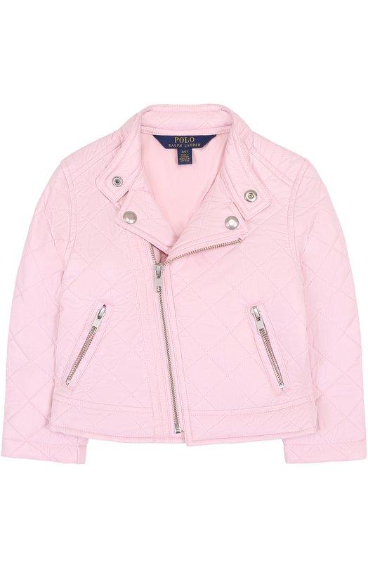 Купить Стеганая текстильная куртка с косой молнией и воротником-стойкой Polo Ralph Lauren, 311688457, Вьетнам, Розовый, Полиэстер: 100%; Подкладка-полиэстер: 100%;