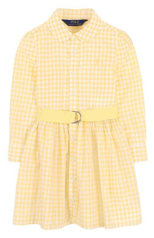 Купить Хлопковое платье-рубашка в клетку с поясом Polo Ralph Lauren, 312688402, Индонезия, Желтый, Хлопок: 100%;