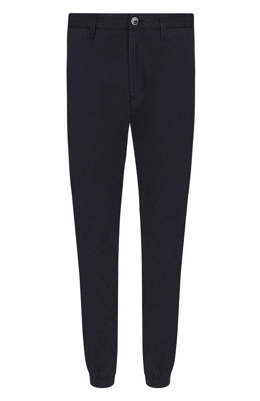 Купить Хлопковые брюки с эластичными манжетами Stone Island, 681530702, Румыния, Темно-синий, Хлопок: 97%; Эластан: 3%;