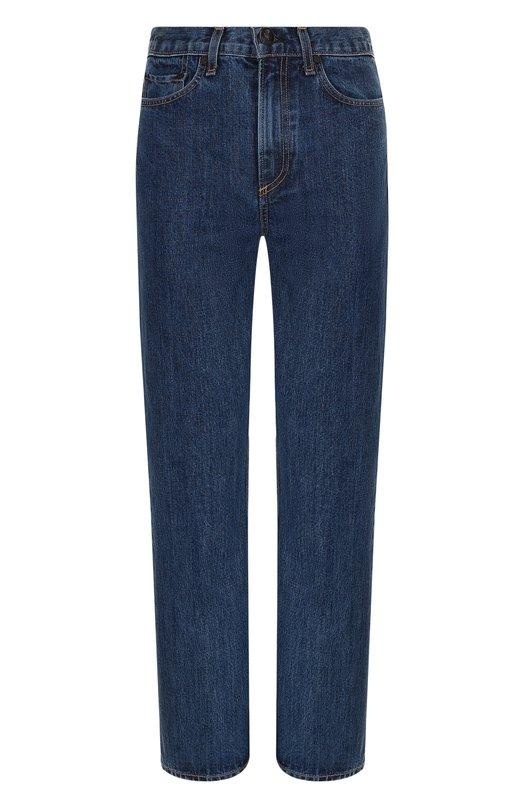 Купить Укороченные джинсы прямого кроя с потертостями Rag&Bone, W2512K165DKP, США, Синий, Хлопок: 100%;