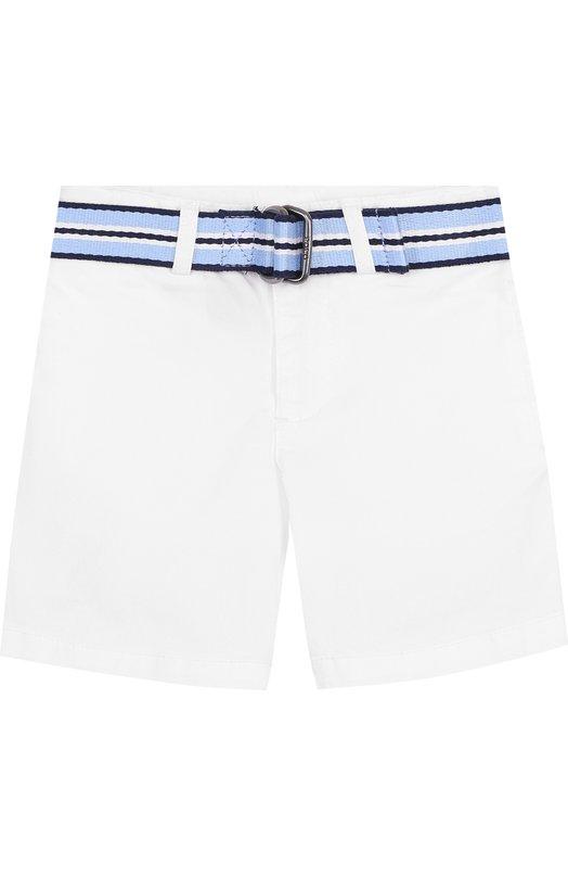 Купить Хлопковые шорты с контрастным ремнем Polo Ralph Lauren, 321689327, Китай, Белый, Хлопок: 98%; Эластан: 2%;