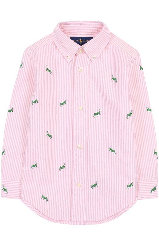 Купить 321691591, Хлопковая рубашка с воротником button down и вышивкой Polo Ralph Lauren, Китай, Розовый, Хлопок: 100%;, Мужской, Рубашки