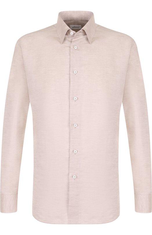 Купить Рубашка из смеси льна и хлопка с воротником кент Brioni, SC1317/P3121, Италия, Бежевый, Лен: 67%; Хлопок: 33%;