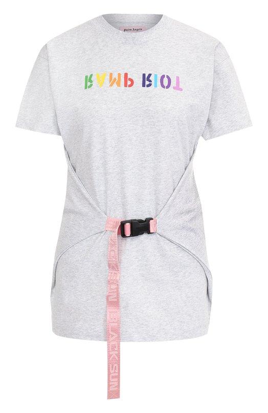 Хлопковая футболка с круглым вырезом и принтом Palm Angels, PWAA005R180840090788, Португалия, Светло-серый, Хлопок: 100%;  - купить