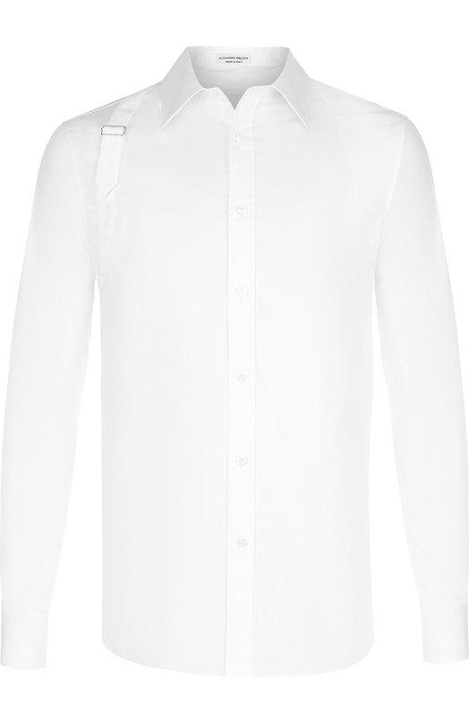 Купить Хлопковая рубашка с воротником кент Alexander McQueen, 487848/QKN09, Италия, Белый, Хлопок: 78%; Эластан: 6%; Полиамид: 16%;